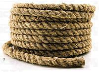 Канат пеньковий Ø 10 мм моток 50 метрів для зрубу Мотузка пенькова Льнопеньковий декоративний шнур