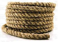 Канат пеньковый Ø 24 мм моток 50 метров для сруба  Мотузка пенькова  Льнопеньковый декоративный шнур