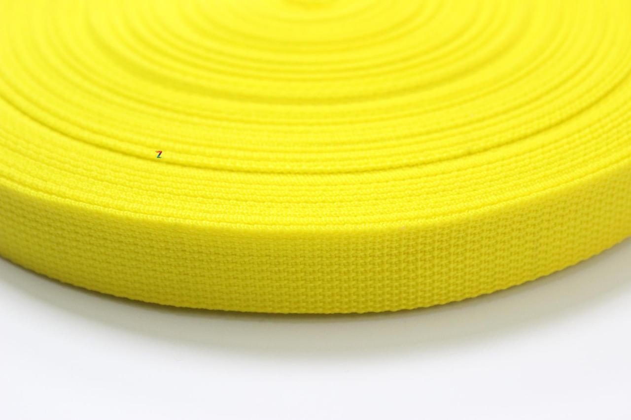 Тесьма цветная 40 мм (бухта 50 м) ЖЕЛТАЯ  Стропа сумочная ременная  Лента для рюкзаков  Стрічка ремінна
