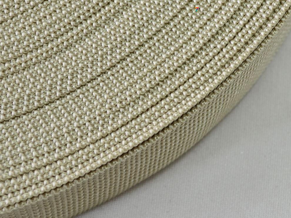 Тесьма цветная 40 мм (бухта 50 м) БЕЖЕВАЯ  Стропа сумочная ременная  Лента для рюкзаков  Стрічка ремінна