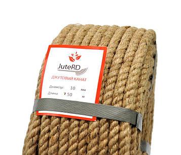 Веревка джутовая JuteRD 10 мм х 50 м  бечевка  канат пеньковый  мотузка джутова  Украина