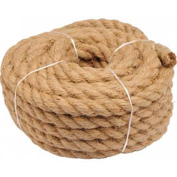 Канат джутовый кручёный 10 мм х 20 м (мотузка джутова, пеньковий канат)  Верёвка Турция