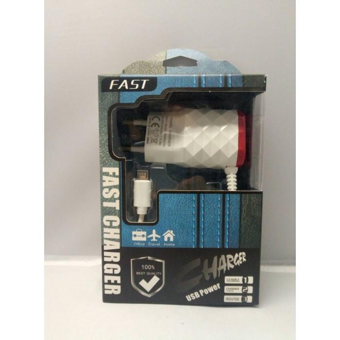 Адаптер блок питания зарядка на 2 USB 5V 2,1A Micro USB