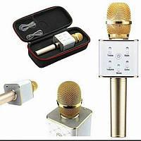 Беспроводной микрофон караоке блютуз Q9 Bluetooth динамик USB Золотой С ЧЕХЛОМ