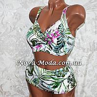 56 размер. Красивый белый женский купальник батал с пальмовыми листьями, раздельный, без косточек