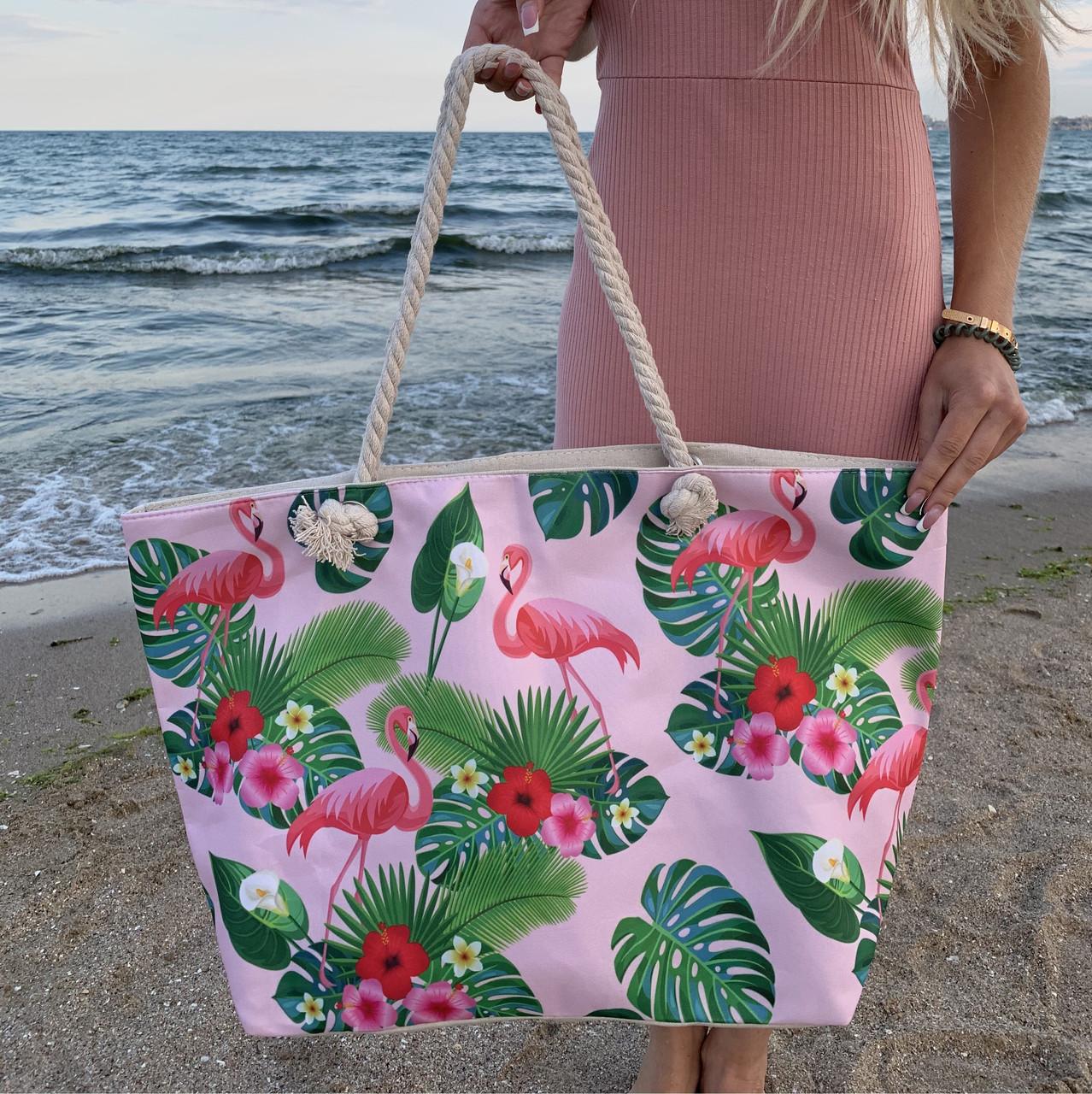 Сумка пляжная Фламинго Flamingo and Fern Pink