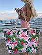 Сумка пляжная Фламинго Flamingo and Fern Pink, фото 2