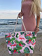 Сумка пляжная Фламинго Flamingo and Fern Pink, фото 3
