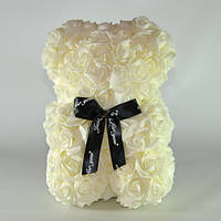 Мишка из роз Bear Flowers 27 см White hubFlqQ58747, КОД: 348808