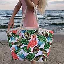 Сумка пляжная Фламинго Flamingo and Pineapple