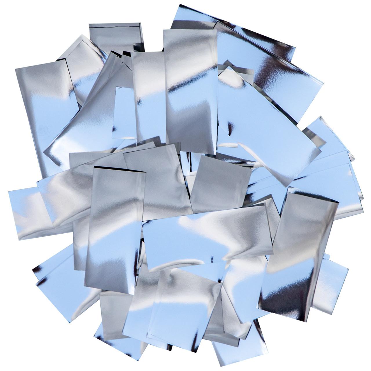 Конфетти-Метафан Серебряный Премиум 2.5х6 (фольгированный) 1кг, фото 1
