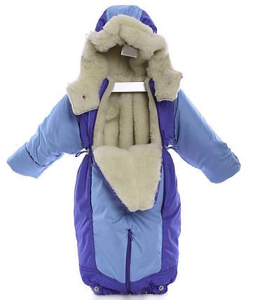 Детский комбинезон трансформер зимний Бирюзовый с синим, фото 2