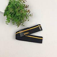 Ремень Пояс Vans полоска  - Черный с оранжевым 105 см