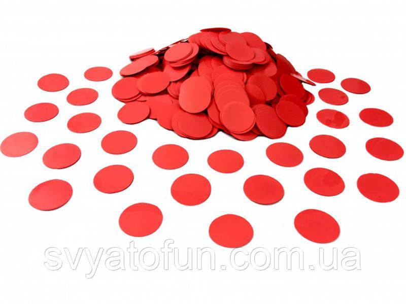 Конфетти Кружочки, 23 мм, цвет красный, 50 г.