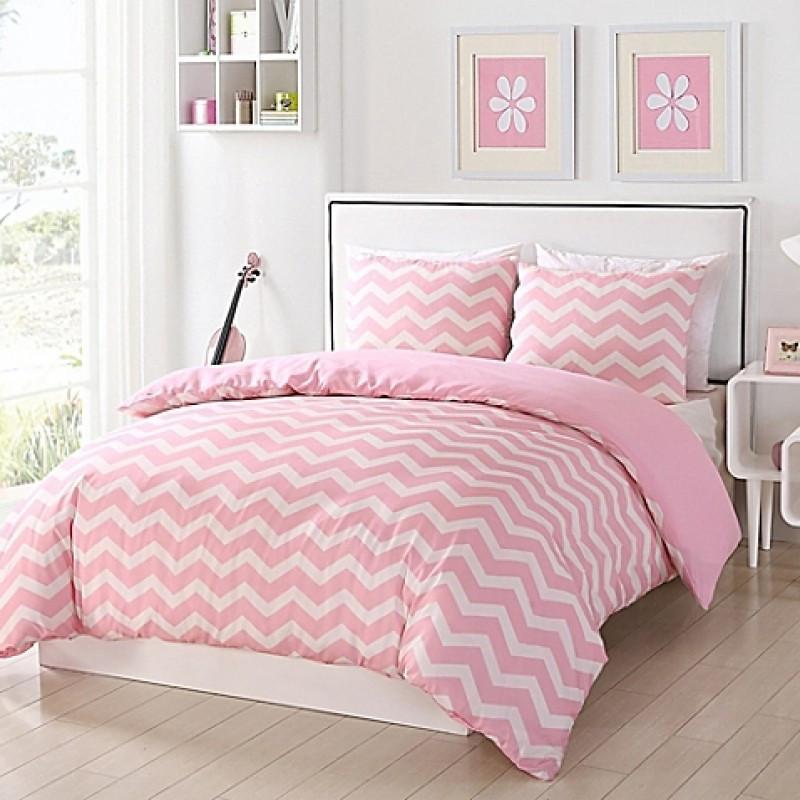Комплект постельного белья Зигзаг на розовом, ранфорс Lux, разные размеры