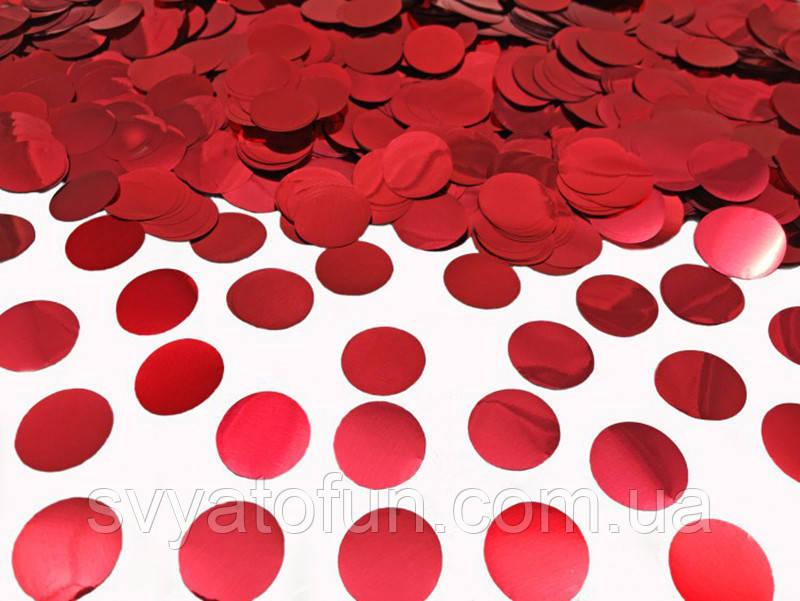 Конфетти Кружочки, 23 мм, цвет красный металлик, 50 г.