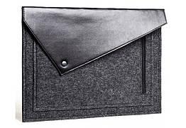 Черный фетровый чехол-конверт Gmakin для Macbook Air Pro 13.3 с экокожей GM57, КОД: 196728