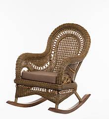 Плетеная кресло-качалка с приставным столиком Cruzo Виктория из натурального ротанга Коричневое k, КОД: 741545