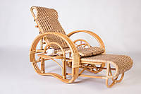 Кресло шезлонг Cruzo Одиссей натуральный ротанг Медовый kz130735, КОД: 741908