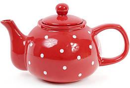 Чайник заварочный Bona Белый горошек 1000 мл керамический Красный BD-593-218psg, КОД: 295861