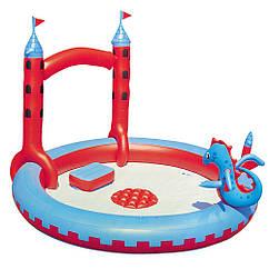 Игровой центр Bestway 53037 Замок Дракона с душем 130 л Красно-голубой int53037, КОД: 319640