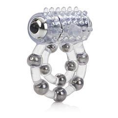 Виброкольцо California Exotic Novelties Maximus Ring 10 Stroker Beads Прозрачное, КОД: 280227