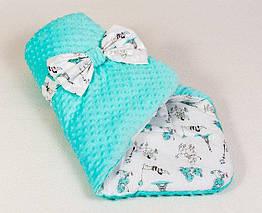Детский зимний конверт-одеяло на выписку Париж 80 х 85 см Мятный 0063К, КОД: 354692