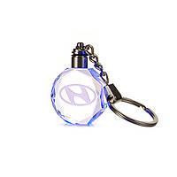 Брелок c подсветкой Motowey Hyundai Прозрачный HyundaiLED, КОД: 766654
