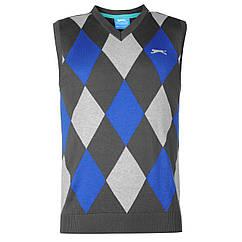 Жилет Slazenger Argyle Knitted Vest Mens L Серый Синий 363143-R, КОД: 741609