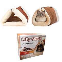 Домик лежак Kitty Shack 2 в 1 с магнитом для шерсти Коричневый ip949, КОД: 681660