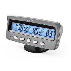 Автомобильные часы с термометром и вольтметром VST 7045V Серый gabkrp134UNFk94644, КОД: 916335