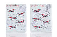 Кожаная обложка на паспорт StVeles Самолеты 156-1552516, КОД: 182224