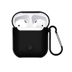 Пластиковый чехол iGuardian с карабином WIWU Armor для Apple AirPods Black IGWAABLS, КОД: 955654