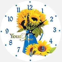Часы настенные ST стеклянные  d 28 см Подсолнухи psgST-01-369, КОД: 944903