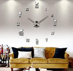 Настенные 3D часы 4220 Серебристые 16-4220, КОД: 313384
