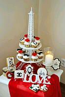 Подложка под торт. Подставка для кексов Эйфелева башня.