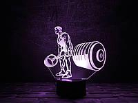 Светильник 3D 3DTOYSLAMP Штангист, КОД: 385900