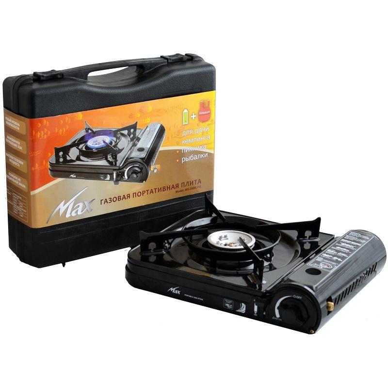 Газовая портативная плита MS-3500 LPG с пьезоподжигом и переходником Черный 1em000987, КОД: 897546