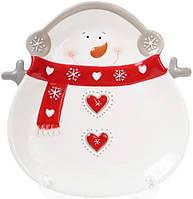Набор 2 обеденные керамические тарелки Bona Снеговик 26 см psgBD-834-181, КОД: 944541
