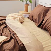 Комплект постельного белья Хлопковые Традиции Евро 200x220 Бежевый с коричневым PF033евро, КОД: 353874