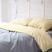 Комплект постельного белья Хлопковые Традиции Двухспальный 175x215 Серый с желтым PF056двуспальны, КОД: 740633
