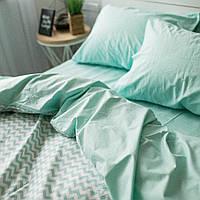 Комплект постельного белья Хлопковые Традиции Полуторный 155x215 Белый с мятным PF012полуторный, КОД: 740756