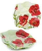 Набор 6 обеденных тарелок Bona Красные маки стекло 25х25 см Разноцветный BD-809-278psg, КОД: 172331