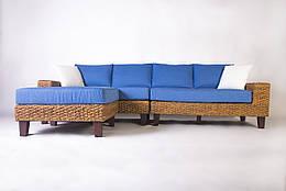 Модульный плетеный диван Cruzo Фйорд с пуфом из водного гиацинта Синий d0015-11025525, КОД: 741542