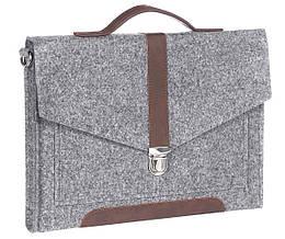 Войлочный портфель Gmakin для Macbook Air Pro 13.3 с вставкой экокожи Серый GS12, КОД: 1024222