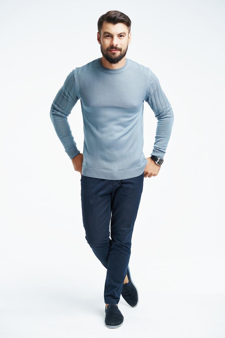 Джемпер с полосами на рукаве и плечах SVTR 54 Голубой 196, КОД: 1065233, фото 1
