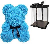 Мягкая игрушка iTrendy Bear Flowers Мишка из роз в подарочной упаковке 40 см Синий HLCTB22, КОД: 942044