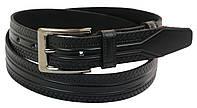 Кожаный ремень Skipper 110-130 x 3.5 см Черный 1029-35, КОД: 390027