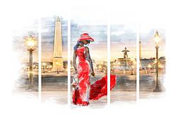 Модульная картина Декор Карпаты 120х80 см Дама в красном M5-512, КОД: 184145