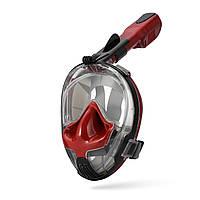 Маска для сноркелінгу TheNice EasyBreath-III M2101 на все обличчя для дайвінгу S M Червоно-чорни, КОД: 703934